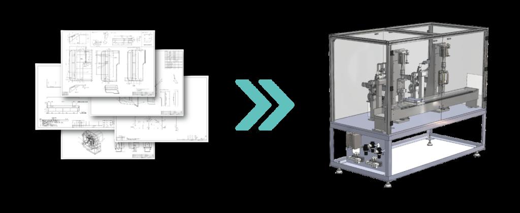3D-CADデータからバラシ図面作成(部品図作成)のエンジニアリングについて説明する左右に並んだ2つの画像。左側には機械部品の部品図が描かれている。これは解析(CAEを除く)、機械装置、機構の構想について利用されるイメージ。右側には図面から3Dにモデリングされたプラント、コンベアなどのボデーの試作画像が表示されている。