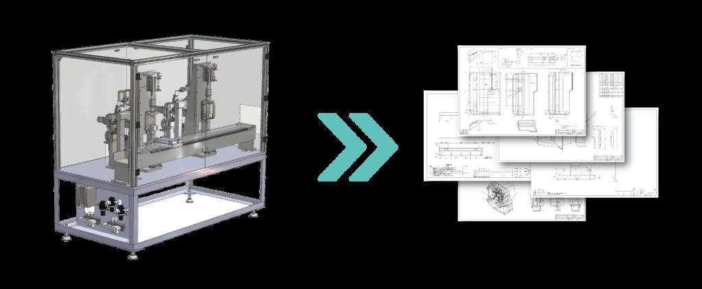 3D-CADデータからバラシ図面作成(部品図作成)のエンジニアリングについて説明する左右に並んだ2つの画像。左側には図面から3Dにモデリングされたプラント、コンベアなどのボデーの試作画像が表示されている。これは解析(CAEを除く)、機械装置、機構の構想について利用されるイメージ。右側には3Dモデルから作成された(バラシを行った)機械部品の部品図が描かれている。