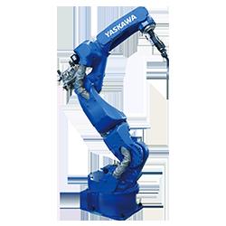 画像は、安川電機の業界最高性能で高品質なアーク溶接機「MOTOMAN-AR1440」です。自動車業界をはじめとする多種多様な業界において、小物部品から大物部品までの製作に導入されています。安川電機は世界一位のシェアを誇る日本の産業用ロボットメーカーで、アーク溶接を中心に、スポット溶接、塗装、組立、半導体ウエハ搬送など、液晶パネル搬送、様々な用途のロボットを展開しています。こうした産業用ロボットはファクトリーオートメーション(FA)には必要不可欠です。